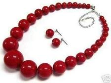 "Beads Necklace Earring 18"" Set Beautiful 6-14mm Red Coral Round"