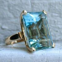 Natural Aquamarine Diamond Ring 14K Yellow Gold Women's Big Engagement Jewelry