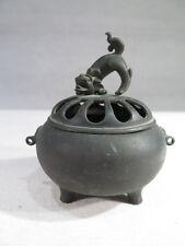 CHINE ANCIEN PETIT BRULE PARFUM EN BRONZE CHIEN DE FO