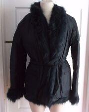 Womens Gianfranco Ferre Sport Faux Fur Belted Wrap Winter Jacket Parka S Italy