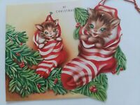 1950 Vtg KITTEN in STOCKING 2pc CARD & Hanging ORNAMENT CHRISTMAS GREETING CARD