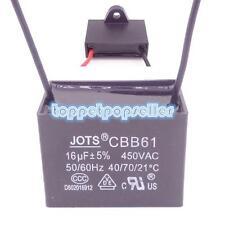1Pcs CBB61 Fan Start Capacitor 16UF AC 450V 50/60Hz Lead Wire 10cm