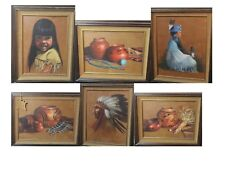 Dorothy Fitzgerald (6 pc) Original Native American Oil paintings on Leather