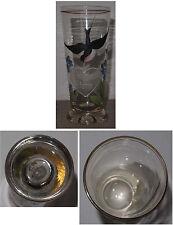 Glas Andenken an Stettin mit emailliertem Schwalben-Dekor um 1900