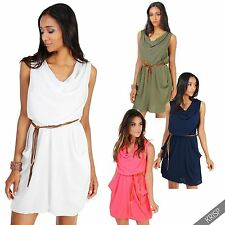 Polyester Cowl Neck Sundresses for Women