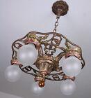 RARE Antique Cast Iron Art Deco Ceiling Light Fixture CHANDELIER 2 AVAIL
