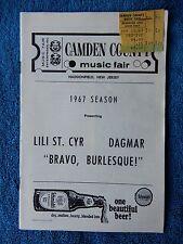 Bravo, Burlesque! - Camden County Playbill w/Ticket - September 15th, 1967 - Cyr