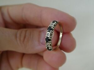 Vintage 9CT Gold Sapphire & Diamond Half Eternity Ring Size P½