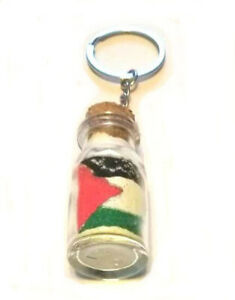 Sea Sand Glass Bottle Love Free Palestine collection Flag design Key chain
