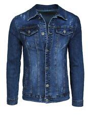 Giubbotto di jeans uomo Diamond casual blu scuro denim giacca giubbino slim fit