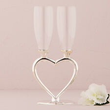 Silver Plated Interlocking Heart Stems Wedding Toasting Flutes