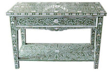 Handmade Antique Mother of Pearl Green Floral Console Table with Self