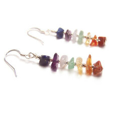 Sterling silver chakra earrings Amethyst Lapis gemstone gem stone rainbow drop