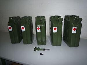 5 x 20 Liter Benzinkanister Metall GGVS mit Sicherungsstift inkl. Auslaufrohr