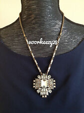 Deco crystal cluster pendant J style crew statement necklace US Seller