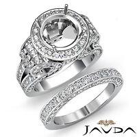Diamond Engagement Ring Round Halo Pave Setting Bridal Set 14k Gold White 3.7Ct