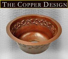 """Hammered Copper Round Bar/ Prep/ Veggie/ Kitchen Sink with Flower Design 15"""""""