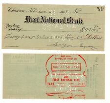 CHEQUE CHECK AMERICAIN USA DOLLAR $ FIRST NATIONAL BANK 1958