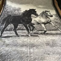 Vintage Biederlack Throw Blanket Black White Horses Reversible Fleece USA 56x74
