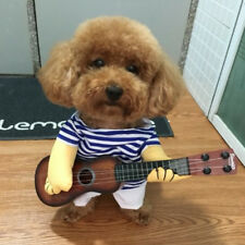 Small Dog Stripe Romper T-shirt Shorts Fun Play Guitar Jumper Pet Clothes M/L/XL