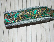 6cm green silver paisley crystal embroidered ribbon BRAID applique trimming