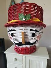 Vintage Toy Soldier Nutcracker Wicker Planter Christmas