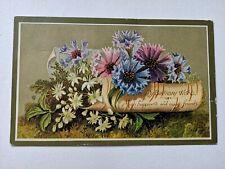 Beautiful Victorian birthday greetings card birds flowers, card topper scrap