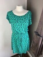 Boden size 10 green Polkadot spotty cotton elasticated waist summer jersey dress