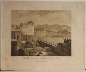 ACRE ISRAEL 1827 FORBIN UNUSUAL ANTIQUE ORIGINAL AQUATINT CITY VIEW