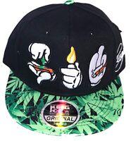 New Weed snapback caps, mens, bling cannabis roll up flat peaks baseball hats