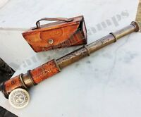 NEW LEATHER TELESCOPE MARINE NAUTICAL ANTIQUE BRASS SPYGLASS VINTAGE SCOPE