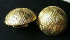 #Vintage designer Givenchy #earrings logo button chunky Goldtone clip on Runway