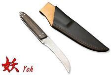 "Kanetsune Yoh 3.54"" 15 Layers Blue Steel Damascus Ebony Handle W/ Sheath KB-231"
