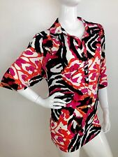 Alfani New Woman Multi/Color Short Sleeve Printed Button Front Blouse Top 3X NWT