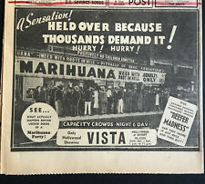 1948 MARIHUANA REEFER MADNESS MOVIES ESPER HOLLYWOOD CITIZEN PAPER AD ORIGINAL