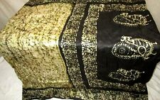 Pure silk Antique Vintage Sari HUCE LOT 4y T8 250 Cream Black DECOR #ABDBO