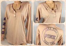 NWOT Victoria's Secret PINK Campus Henley Long Sleeve Ballet Pink Size M