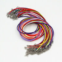 New Lots 20Pcs Multi-Color 2mm Leather Cord Rope Lobster Clasp Necklace Chain