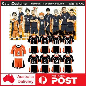Haikyuu!! Karasuno High School Uniform Cosplay Jersey T-Shirt Crop Top + Shorts