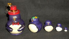 Penguins w/ Hat Traditional Russian Nesting Doll Hand Made Small Set 5
