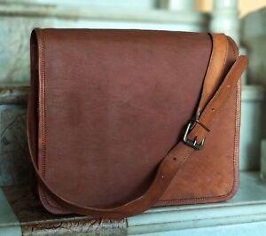 Men & Women Leather Messenger Laptop Bag Computer Distressed Satchel Briefcase