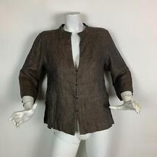 Eileen Fisher Blazer Jacket Linen Brown 3/4 sleeves women Size S
