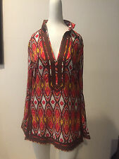USED TORY BURCH Multicolor Cotton Blouse Top Size 2 !!! CF