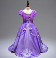 US STOCK ! Gorgeous Sofia The First Costume Girls Princess Dress Gown 3-10
