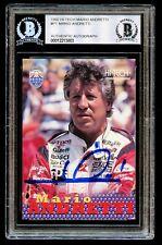 Mario Andretti #P1 signed autograph auto 1992 Hi-Tech Racing Card BAS Slabbed