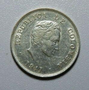 1941 COLOMBIA SILVER 20 CENTAVOS COIN