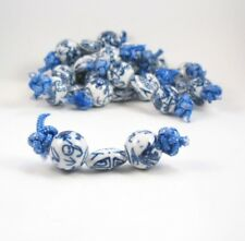 Lot 30 Vintage Blue and White Porcelain Asian Design Beads Dragon Motif 10mm BB6