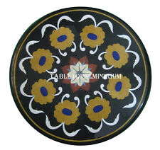 "20"" Black Marble Coffee Table Top Marquetry Floral Inlay Furniture Arts Decor"