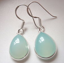 Chalcedony Pear-Shaped 925 Sterling Silver Dangle Earrings Corona Sun Jewelry