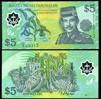 Brunei 5 Ringgit 2002 P 23 Polymer UNC